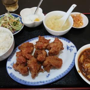 新宿 小杉美食 若鶏肉唐揚げと麻婆豆腐の定食