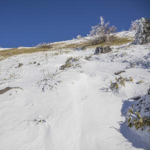 冬季根子岳 新雪の登山道を登る