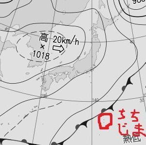 天気図の前線のラインが肉眼で見えた