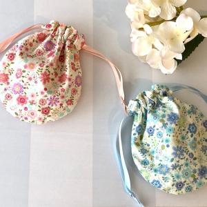 布小物:花柄で作る*しじみ巾着