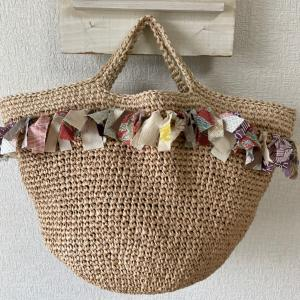 kimono  yarnのフリンジ付きマルシェバッグ