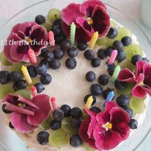 お誕生日のケーキ☆エディブルフラワーでおめかし