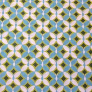 青と白のチョウ柄の布地