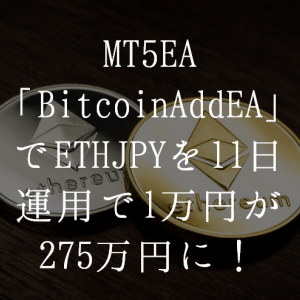 【MT5EA】1万円が11日で275万円に増える!仮想通貨の上昇の波がきたか!?