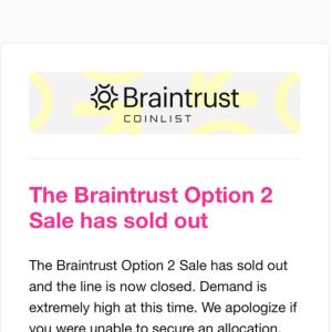 CoinListで2回目のトークンセールに挑戦!ICO「Braintrust」の結果は・・・落選(T-T)