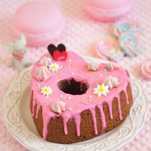 * バレンタイン♡ハートのチョコシフォンケーキ♪
