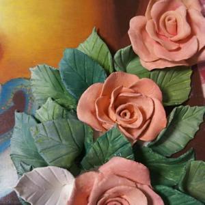 ♪チョークアートと粘土の花