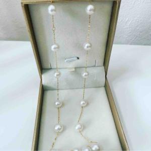18KGの本真珠ステーションネックレスきました❤️ 送料込みで8000円!