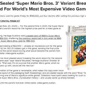 "NES版『マリオ3』の""Left Bros""未開封品がビデオゲーム価格の世界記録を更新!! 他"