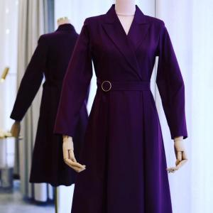 袖スリットのウールのコートドレス