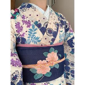 【着物コーデ】花柄夏着物にストライプの帯揚げ