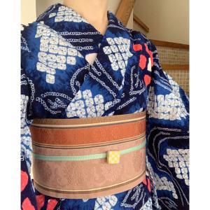 【浴衣コーデ】絞り浴衣と博多織の半幅帯