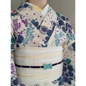 【着物コーデ】セオアルファ着物と白地の半幅帯で涼しげコーデ