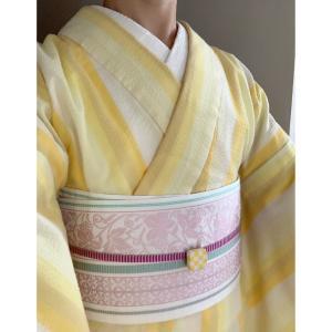 【着物コーデ】阿波しじらと博多織の半幅帯