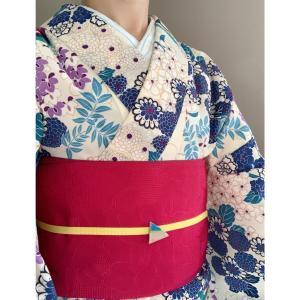 【着物コーデ】花柄着物とピンクの半幅帯