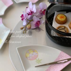 ピンクの地模様がふんわり可愛い扇皿~ポーセラーツで楽しむ和の器~