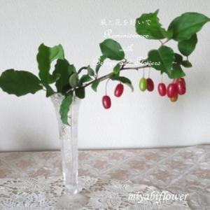 赤い茱萸をガラス花器に・・・そして梅シロップ覚え書き