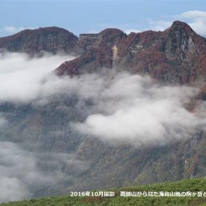 秋色の海谷三山と荒れた海谷渓谷(縦走編)     Mountain range of Umitani in Myōkō-Togakushi Renzan National Park