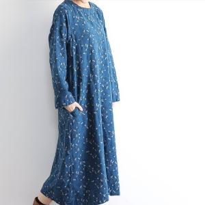 ブルーグリーンが寒い季節に映える暖か起毛総刺繍ワンピースが素敵