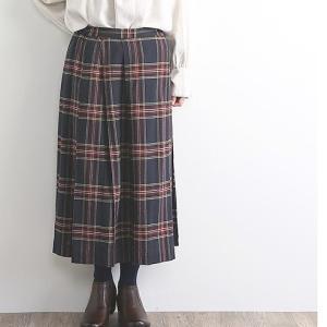 オニール風コットンリネンチェック起毛プリーツスカート手間なし素材で素敵