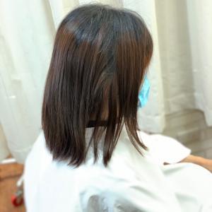 ストパン内巻きボブ縮毛矯正カラーと同時に