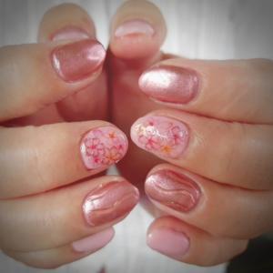 桜とミラーネイル