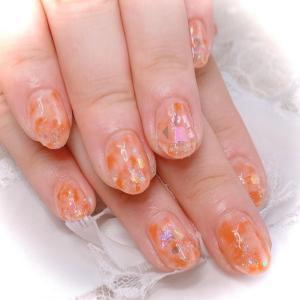 オレンジマーブルネイル