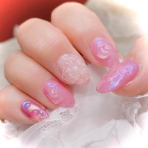 ピンクのオーロラミラー&クリアフラワー