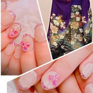 クリアフレンチ×紫 押し花、自爪にフィットする付け爪