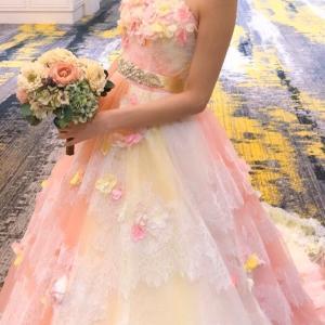 お花いっぱいのカラードレス ピンク オレンジ スポサブランカ