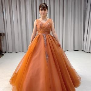 新作カラードレス 珍しいテラコッタ色 お色直しやフォトウェディングにも!