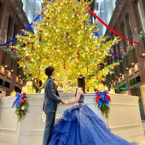 クリスマスシーズンのロケーション前撮り☆キラキラカラードレス大阪店
