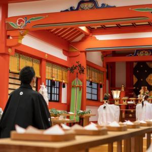 岐阜神社結婚式♡黒紋服 白無垢にわたぼうし姿の花嫁様
