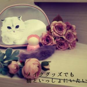 メイクグッズでも猫といっしょにいたいんです。