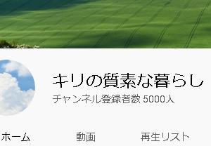 YouTubeの登録者数が5000人になりました。皆さんには感謝してます。