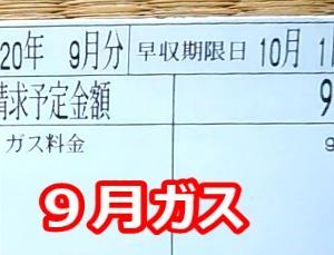 8月・9月のガス代と9月の電気代 9月のガス代は1000円以下でした。