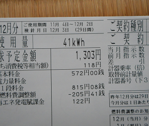 12月電気代と11月~12月水道代 電気代は節約できたかな