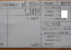 2021年5月のガス代 5月も2000円以下でした。