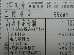 9月の電気代 先月よりも70円増加。大きな変化なし。