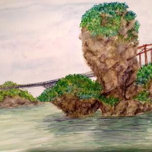 伊計漁港から伊計橋を望む