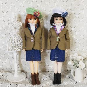 花柄襟のジャケットを作って双子コーデ