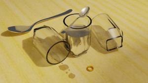 Blender2.8 グラス、水、スプーン