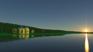 Blender, Terragen 4 湖畔の城