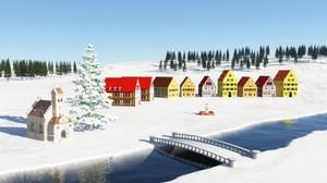 Blender, Terragen 4 ヨーロッパ風の村