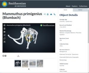 スミソニアン博物館の3Dモデル マンモスの骨格