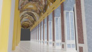 Blender2.91 宮殿の内部の試作