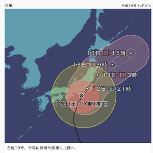 台風19号・ハギビスの進路が気になる〜!!