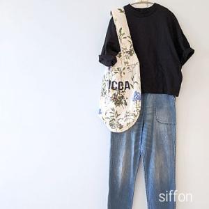 UNIQLOのTシャツ、デニムと花柄バッグ*極伸びストレッチパンツ、予約しました〜!