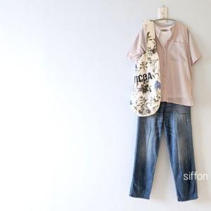 シアーシャツとデニム、TICCAの花柄バッグ*newsさん20〜30%オフSale!お買い物マラソン⇛クーポンで最大50%オフ!
