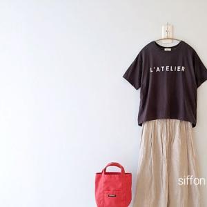 siroのロゴT、studio CLIPのリネンスカート*TRADITIONAL WEATHER WEARのマルシェバッグがかわいい♪